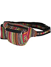 Boho Rainbow Fabric Waist Bag, 3 Zip Water Bottle Fanny Pack, Handmade In Nepal