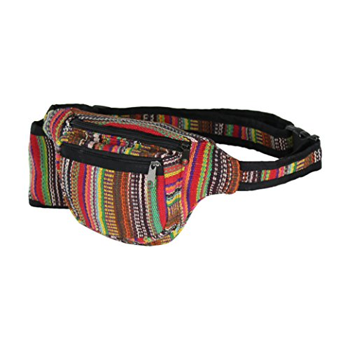 Boho Rainbow Fabric Waist Bag, 3 Zip Water Bottle Fanny Pack, Handmade in Nepal (Pattern Fanny Pack compare prices)