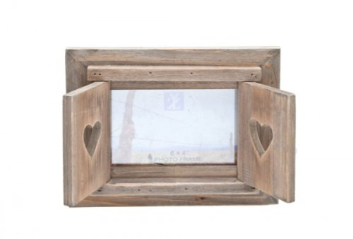 Wooden Heart Rustic Photo Frame With Shutters
