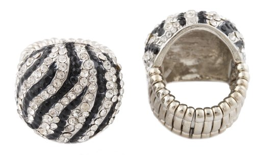 Silvertone with Black & Clear Iced Out Zebra Print Round Stretch Ring