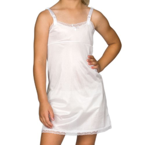 I.C. Collections Big Girls White Simple Empire Waist Slip, Size 10