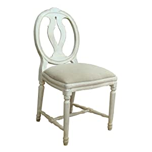 A Shabby Chic French Style Dining Chair In White Distressed Finish Upholster