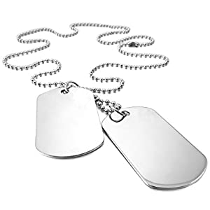 MunkiMix 2PCS Alloy Pendant Necklace Silver Army Double Dog Tag Biker 27 Inch Chain Men ,Chain