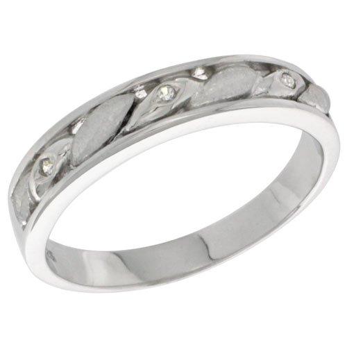 Sterling Silver Diamond Simulant Ladies 4mm Wedding Band