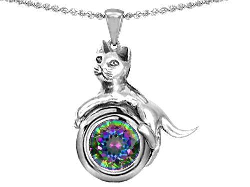 Original Star K(tm) Cat Lover Pendant with Genuine Round 6mm Mystic Rainbow Topaz in .925 Sterling Silver