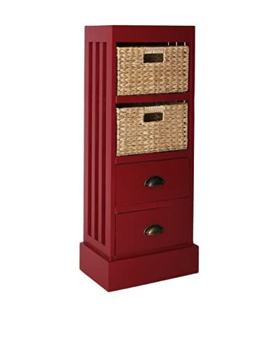 Gallerie Décor Nantucket 2-Drawer & 2-Basket Storage Unit, Red