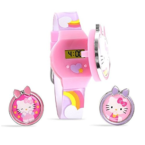 Hello-Kitty-Digital-Watch-LCD-display-with-interchangeable-tops