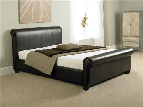 NEW 4ft 6 BROWN FAUX LEATHER SLEIGH DOUBLE SCROLL BED AND SLUMBER SLEEP MEMORY FOAM MATTRESS