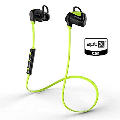 [Bluetooth 4.1, CVC6.0, aptX, IPX4] Mpow Casque Sport Bluetooth HI-FI Seashell, écouteurs sans fil stéréo de sport, Oreillettes d'exercice avec aptX, CVC 6.0 antibruit, micro intégré pour iPhone SE, iPhone 6 6s 6 Plus, , iPhone 5s 5c, Samsung Galaxy S6/S6 Edge S7/S7 Edge S5/S4/S3, Huawei, Wiko et d'autres Appareils Bluetooth