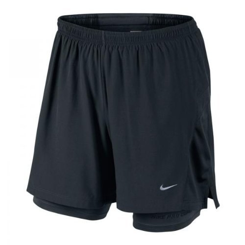 Nike Herren 5inch Stretch Woven 2-in-1 Running Short: Schwarz: S