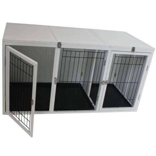 "Pawhut 54"" X 25"" X 27"" Deluxe Wood Pet Dog Crate - White front-272674"
