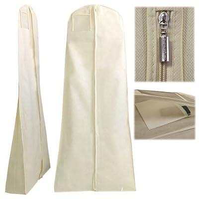 "Hangerworld 72"" Breathable Ivory Wedding Gown Dress Garment Cover Bag with Secret Internal Pocket"