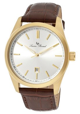 Lucien Piccard Men's 11568-YG-02S Eiger Silver Dial Brown Leather Watch