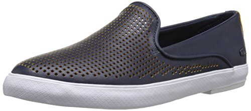 Lacoste Women's Cherre 216 1 Flat, Navy/Yellow, 8.5 M US