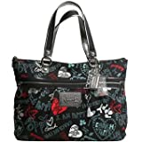 - 	 Coach Limited Edition Graffiti Hearts Glam Shopper Bag Purse Tote Black Red