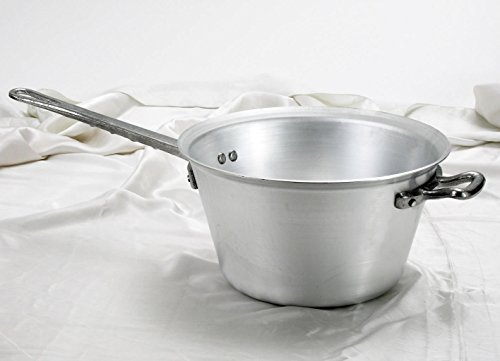 Pentole Agnelli Paiolo per Polenta, in Alluminio, con Manico e Maniglia in Acciaio Inossidabile, Argento, 4.5 Litri