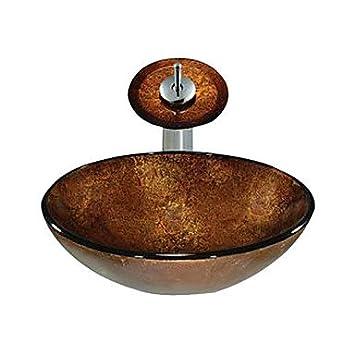 jjg braune runde glas schiff sp lbecken mit wasserhahn. Black Bedroom Furniture Sets. Home Design Ideas