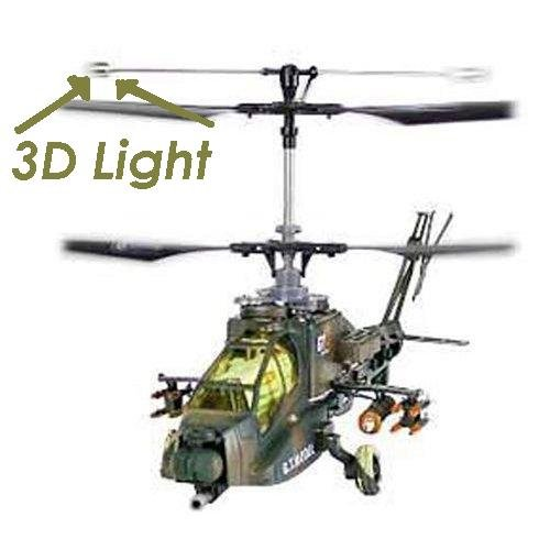RC Advanced Apache Helicopter 3Ch Remote Control Ready To Fly - W/Light Effects