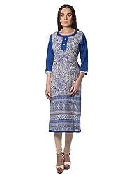 Navriti blue printed khadi kurta