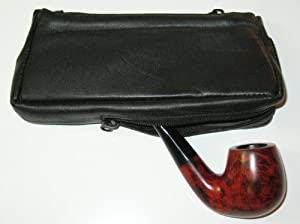 Old Road Black Tobacco Pouch w Pipe Holder Pocket, Tool and Moistener Pod