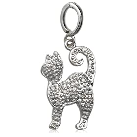 Sterling Silver Diamond Cat Charm