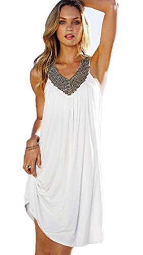 MiYang Women's V-Neck Hot Drilling Wrinkle Long Beach Dress,One Size,White