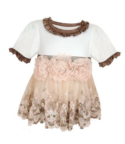 Stephan Baby Angels in Lace English Rose All-in-One Lace Trimmed Diaper Cover with Organza Rosettes, 3-12 Months