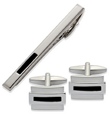 Polished Imitation Rhodium Plated with Black Enamel Cufflinks and Tie Clip Set