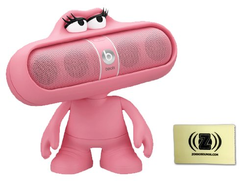 Beats By Dr. Dre Pill Portable Speaker System (Pink) Bundle With Pink Pill Character Stand And Zorro Sounds Cleaning Cloth