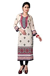 Fashion Galleria Women's Cream American Creap Kurti