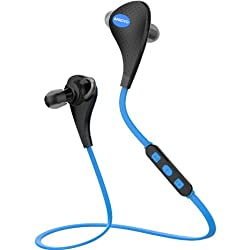 ANKOVO Wireless Bluetooth Headphones Headsets Sweatproof Running Gym Exercise Stereo Earphones Noise Cancelling Earbuds cordless with Magnet Circle Design (Blue1)
