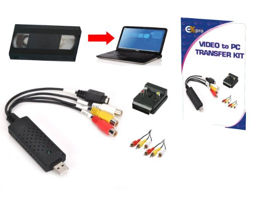 Ex-Pro 64Bit Capture USB 2.0 Video and Audio Capture Card. Great for older VHS, V8 and Hi8 Camcorders. Copy movies and footage (edit) then save from your PC DVD, VCD and SVCD. (Includes HD Software)