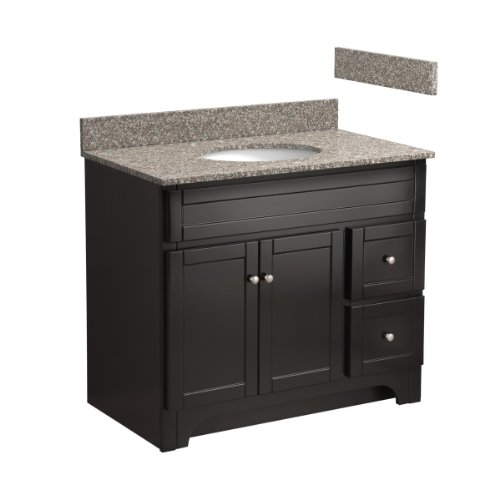 Foremost COEAT3621D-8B 36-Inch Columbia Bathroom Vanity Combo with Burlywood Granite Top, Pre-Attached Undermount Sink and 8-Inch Centers, Espresso
