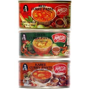 6 Can (4oz. Each) of Thai Green Red Yellow Curry Pastes Set by Maesri