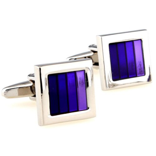 Beour White-gold-plated-silver Purple and Silver Copper Square Cufflinks