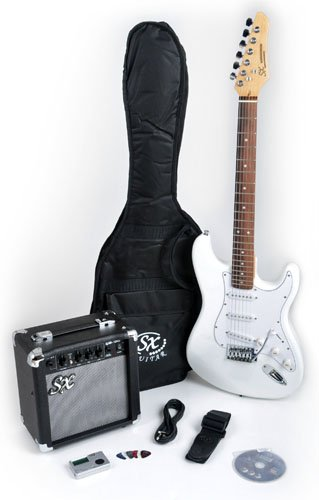 SX RST Pure White Electric Guitar Package with GA 1065 AMP, Strap, Carry Bag, and Instructional DVD
