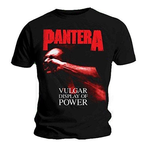Maglietta ufficiale PANTERA VULGAR Logo in metallo, colore: rosso, con tutte le misure Nero  nero