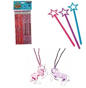 Magical Princess / UnicornTheme Party Favor Set / 12 Cute Princess Pencils / 12 Adorable Unicorn Necklaces / 12 Princess Magic Wands