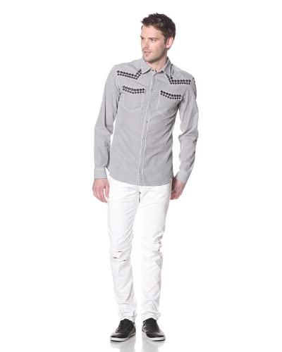 Pierre Balmain Men's Stripe Shirt with Metal Studs