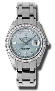 Rolex Day-Date Masterpiece Ice Blue Automatic Platinum Pearl Master Ladies Watch 18946IBLDPM