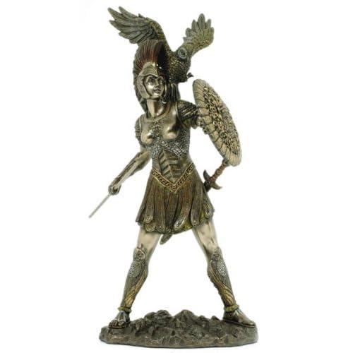 Goddess of Wisdom Statue, Real Bronze Powder Cast Sculpture 12-inch