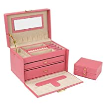 Hot Sale Jewelry Box Genuine Leather Pink Large With Travel Case by Tech Swiss