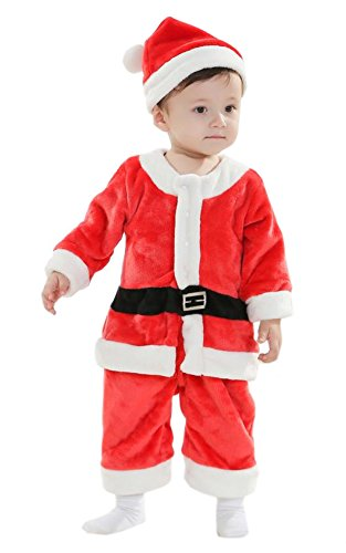 Xmas Christmas Santa Claus Costume Outfit for Toddler Boys Kids Baby Children 2-4 Yrs