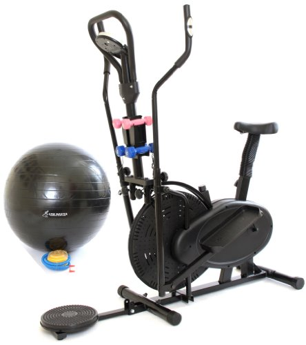 Gym Master 3 in 1 Elliptical Exercise Bike & Cross Trainer & AB Twister in Black + Dumbbells (CR-8.2GAH)