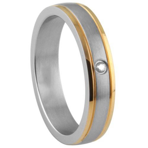 **LEAD FREE** 316L Two Tone Yellow Gold Plated Stainless Steel 6mm Solitaire CZ Design Wedding Ring Band (Size 5 to 13) - Size 5