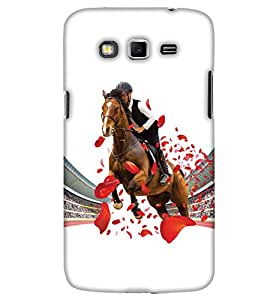 PrintHaat Back Case Cover for Samsung Galaxy Grand Neo :: Samsung Galaxy Grand Neo Plus :: Samsung Galaxy Grand Neo+ :: Samsung Galaxy Grand :: Samsung Galaxy Grand Neo i9060 :: Samsung Galaxy Grand Neo Plus i9060i (horse rider in the stadium :: public applaud for the winner house :: love horse racing :: race course :: happiest winning moment :: in red, brown, black)