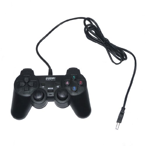 USB Double Dual Shock Joypad Game & Computer Controller - Black