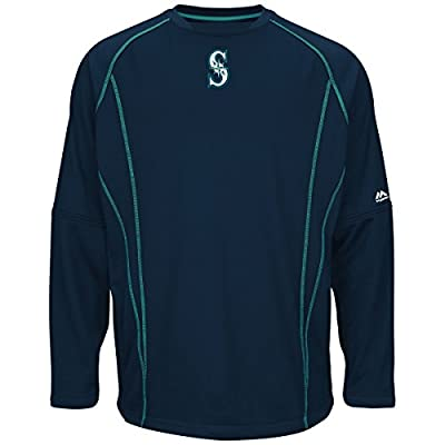 Seattle Mariners Majestic MLB Authentic On-Field Crew Pullover Sweatshirt