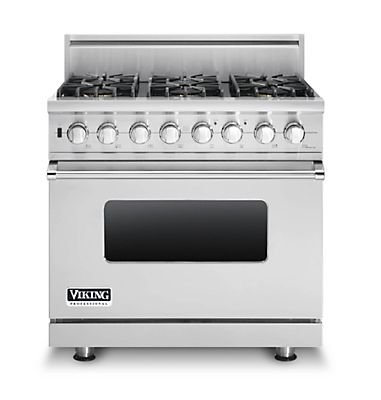 "Viking Vdsc5366Bss: 36"" Custom Sealed Burner Dual Fuel Range, Natural Gas, No Brass Accent"