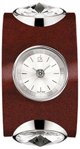 Calvin Klein K4623138 - Reloj de mujer de cuarzo, correa de piel color rojo